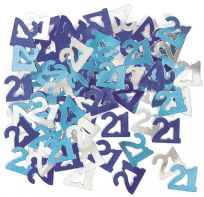 Blue Glitz Table Confetti - Age 21